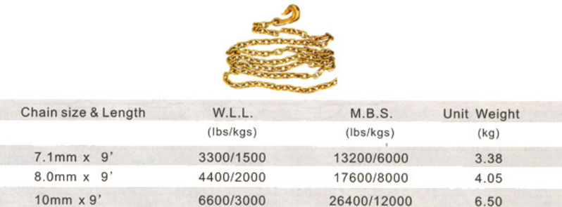 Golden galvanized chain sling G80