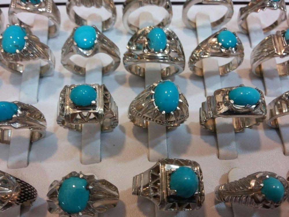فروش  انگشتر نقره با سنگ فیروزه