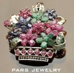 Multi gems brooch