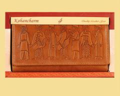 کیف پول زنانه هخامنشی چرم طبیعی (گاوی) کد  LW5