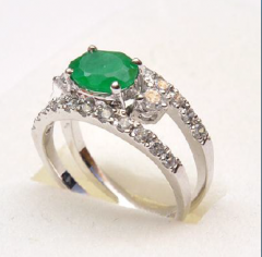 Silver ring with artificial corundum stone and cz